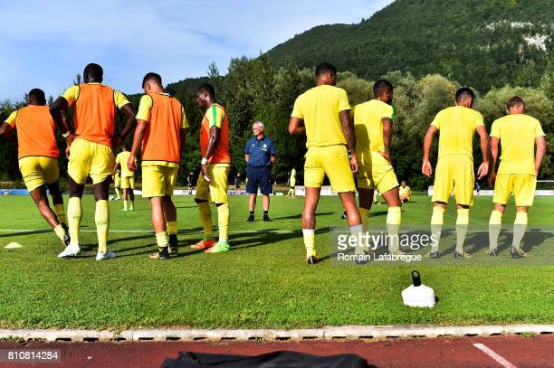 Claudio Ranieri head coach of Nantes and players during the friendly match between Fc Nantes and Lausanne Sport on July 8 2017 in Annecy France