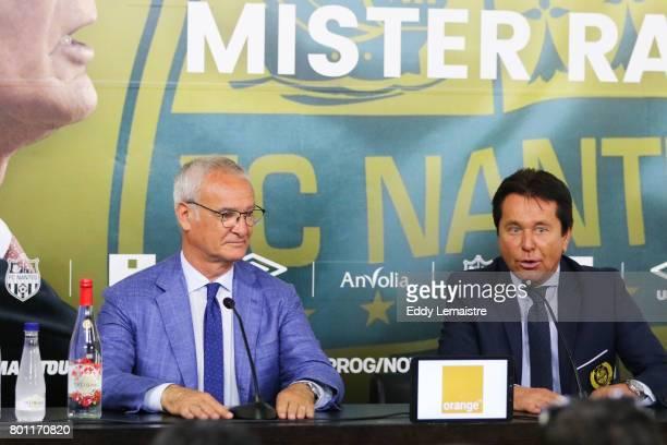 Claudio Ranieri Head coach of Nantes and Waldemar Kita President of Nantes during Press conference of Fc Nantes on June 26 2017 in Nantes France
