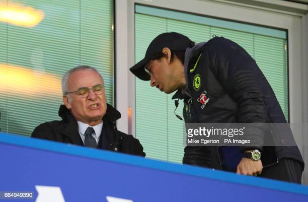 Claudio Ranieri in the stands during the Premier League match at Stamford Bridge London