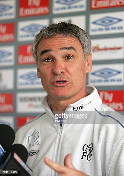 Claudio Ranieri manager of Chelsea talks at a press conferance before taking a training session at the Harlington training ground on May 7 2004 in...