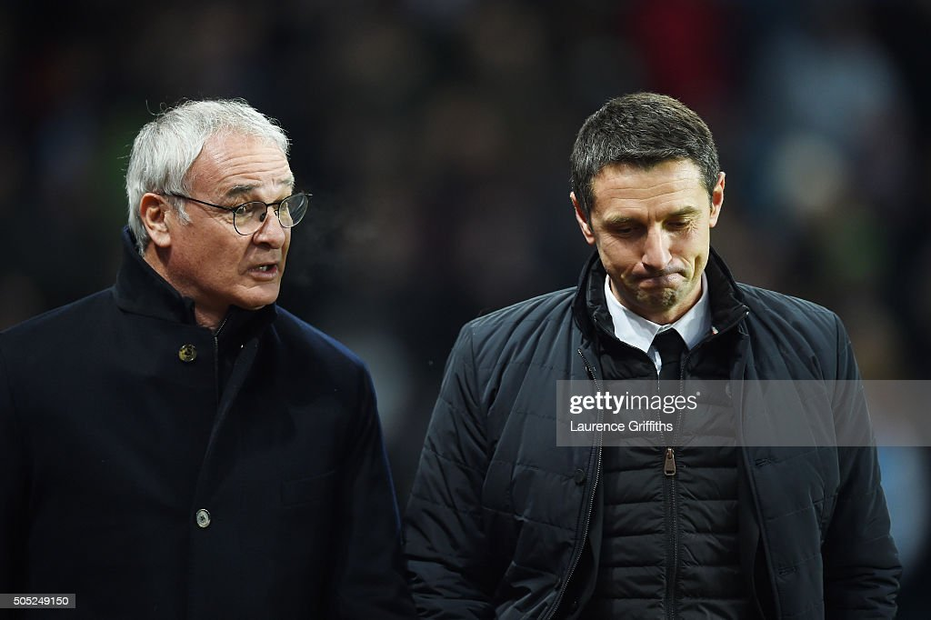 Claudio Ranieri Manager of Leicester City and Remi Garde Manager of Aston Villa talk prior to the Barclays Premier League match between Aston Villa...