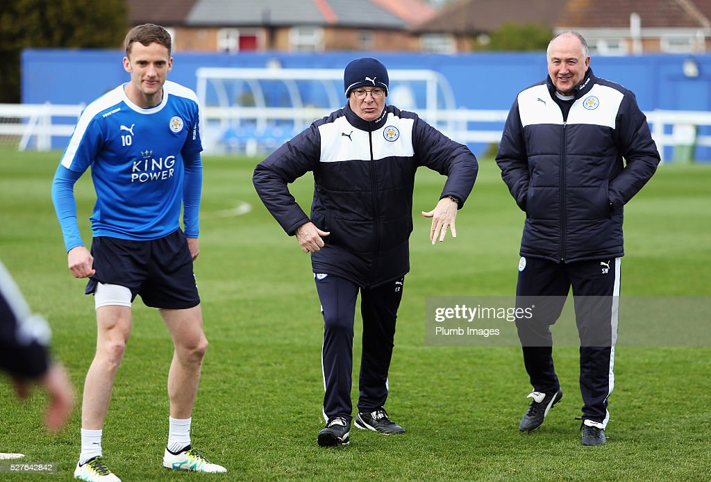 <a gi-track='captionPersonalityLinkClicked' href=/galleries/search?phrase=Claudio+Ranieri&family=editorial&specificpeople=204468 ng-click='$event.stopPropagation()'>Claudio Ranieri</a>, manager of Leicester City, <a gi-track='captionPersonalityLinkClicked' href=/galleries/search?phrase=Andy+King+-+Soccer+Player+-+Born+1988&family=editorial&specificpeople=14622523 ng-click='$event.stopPropagation()'>Andy King</a> (L) and assistant manager Steve Walsh take part during a Leicester City training session at Belvoir Drive Training Ground on May 3, 2016 in Leicester, England.