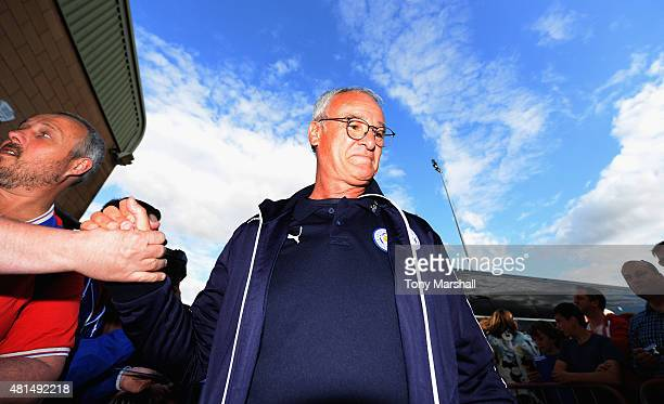 Claudio Ranieri Manager of Leicester City arrives at the Sincil Bank Stadium before the Pre Season Friendlly match between Lincoln City and Leicester...