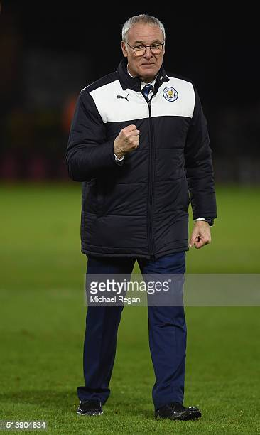 Claudio Ranieri Manager of Leicester City celeberates his team's 10 win in the Barclays Premier League match between Watford and Leicester City at...