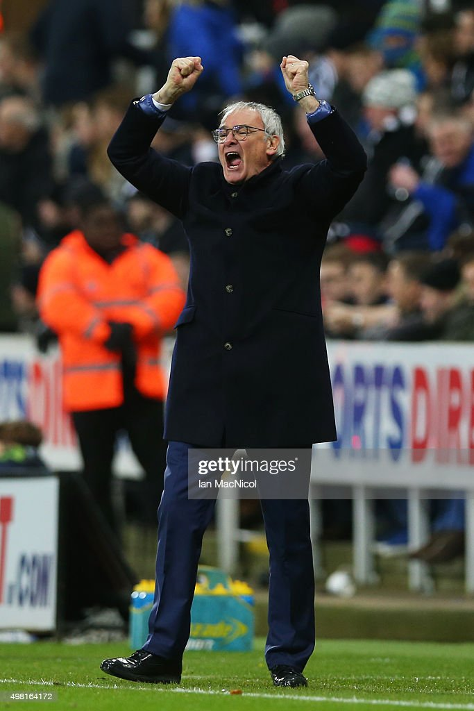 Claudio Ranieri Manager of Leicester City celebrates a goal during the Barclays Premier League match between Newcastle United and Leicester City at St James' Park on November 21, 2015 in Newcastle upon Tyne, England.