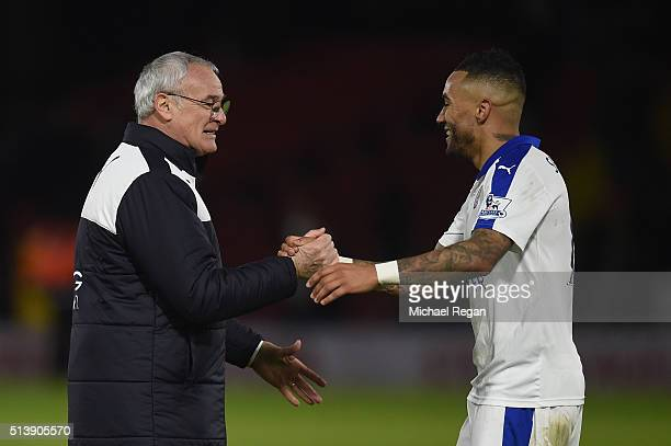 Claudio Ranieri manager of Leicester City celebrates victory with Danny Simpson of Leicester City after the Barclays Premier League match between...