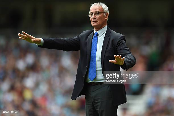 Claudio Ranieri Manager of Leicester City gestures during the Barclays Premier League match between West Ham United and Leicester City at the Boleyn...