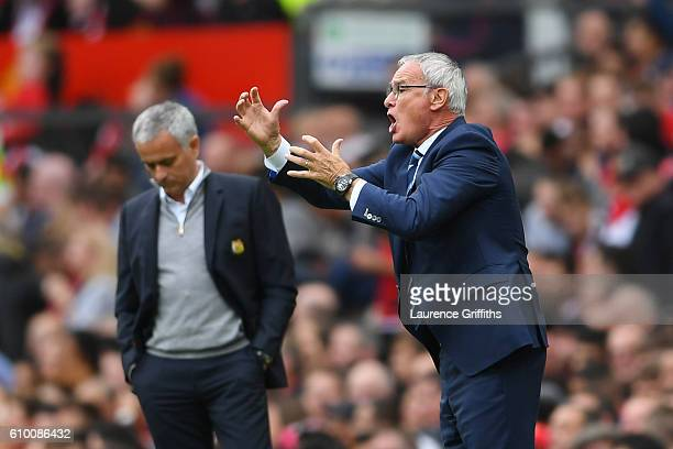 Claudio Ranieri Manager of Leicester City gives his team instructions during the Premier League match between Manchester United and Leicester City at...