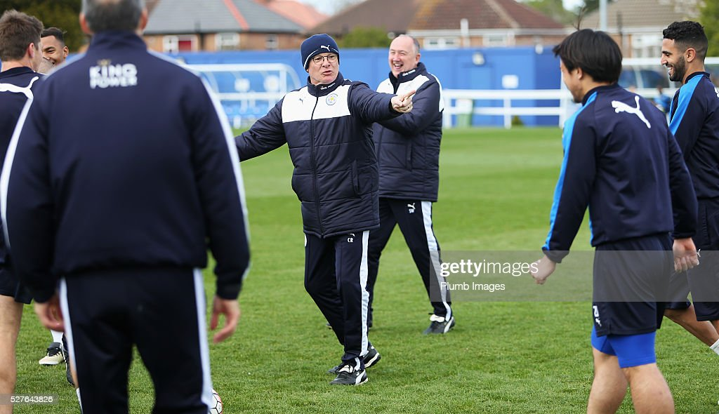 Claudio Ranieri, manager of Leicester City gives instructions during a Leicester City training session at Belvoir Drive Training Ground on May 3, 2016 in Leicester, England.