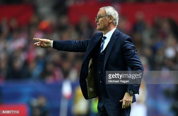 Claudio Ranieri manager of Leicester City issues instructions to his players during the UEFA Champions League Round of 16 first leg match between...
