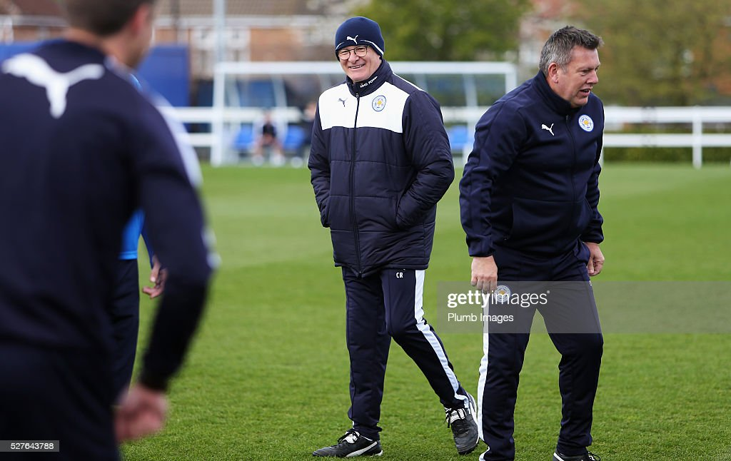Claudio Ranieri, manager of Leicester City laughs during a Leicester City training session at Belvoir Drive Training Ground on May 3, 2016 in Leicester, England.