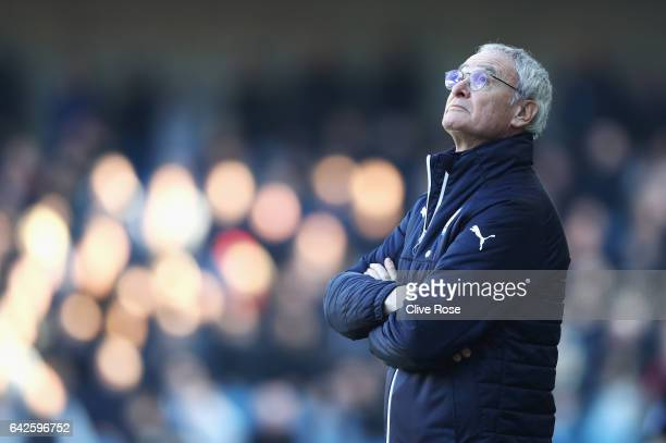 Claudio Ranieri Manager of Leicester City looks dejected during The Emirates FA Cup Fifth Round match between Millwall and Leicester City at The Den...