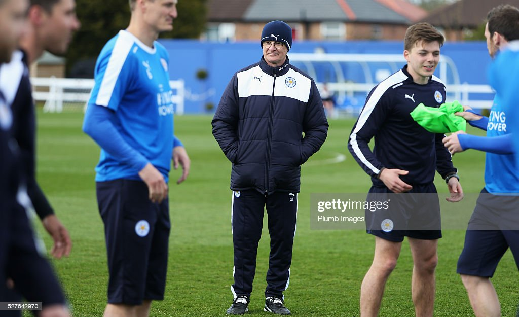 <a gi-track='captionPersonalityLinkClicked' href=/galleries/search?phrase=Claudio+Ranieri&family=editorial&specificpeople=204468 ng-click='$event.stopPropagation()'>Claudio Ranieri</a>, manager of Leicester City looks on during a Leicester City training session at Belvoir Drive Training Ground on May 3, 2016 in Leicester, England.