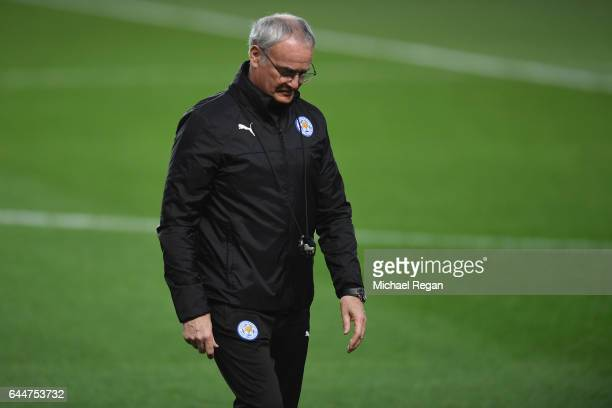 Claudio Ranieri manager of Leicester City looks on during a training session ahead of the UEFA Champions League roundof16 first leg against Sevilla...