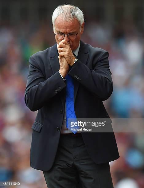 Claudio Ranieri Manager of Leicester City looks on during the Barclays Premier League match between West Ham United and Leicester City at the Boleyn...