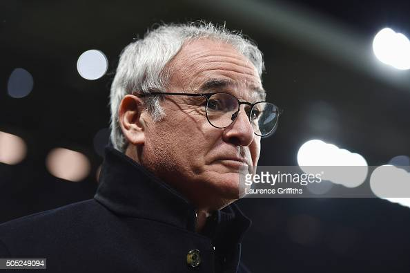 Claudio Ranieri Manager of Leicester City looks on prior to the Barclays Premier League match between Aston Villa and Leicester City at Villa Park on...