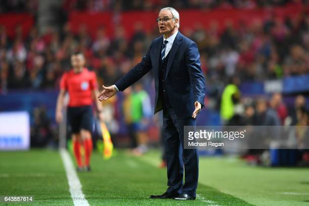 Claudio Ranieri manager of Leicester City reacts on the touchline during the UEFA Champions League Round of 16 first leg match between Sevilla FC and...