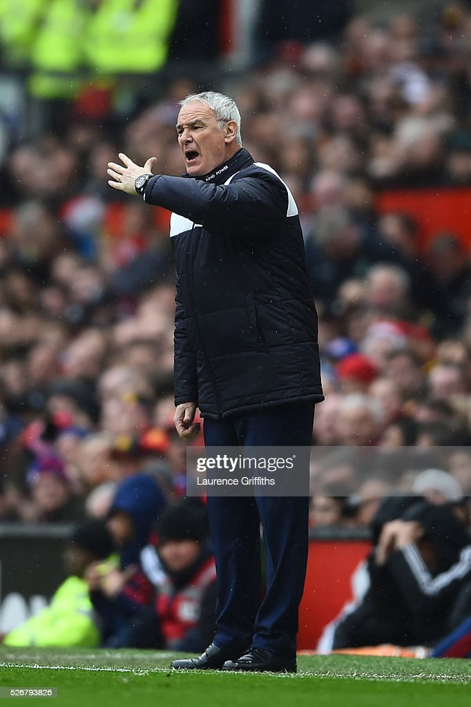 <a gi-track='captionPersonalityLinkClicked' href=/galleries/search?phrase=Claudio+Ranieri&family=editorial&specificpeople=204468 ng-click='$event.stopPropagation()'>Claudio Ranieri</a> manager of Leicester City shouts during the Barclays Premier League match between Manchester United and Leicester City at Old Trafford on May 1, 2016 in Manchester, England.