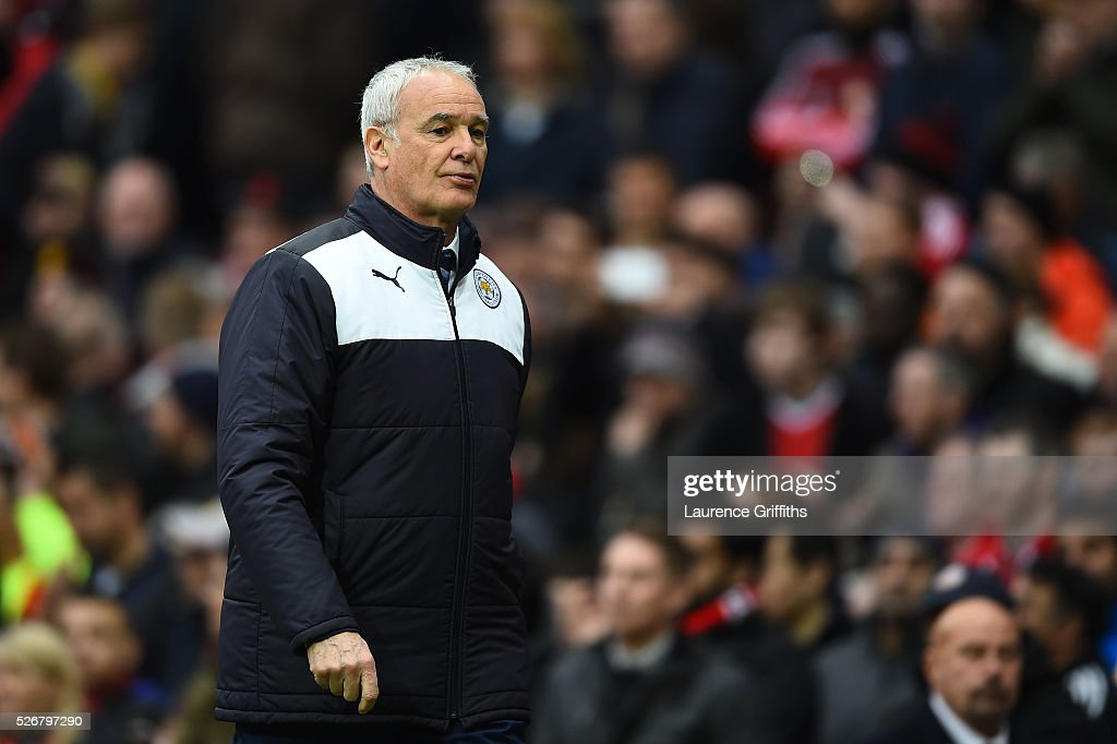 <a gi-track='captionPersonalityLinkClicked' href=/galleries/search?phrase=Claudio+Ranieri&family=editorial&specificpeople=204468 ng-click='$event.stopPropagation()'>Claudio Ranieri</a>, manager of Leicester City walks in for half time during the Barclays Premier League match between Manchester United and Leicester City at Old Trafford on May 1, 2016 in Manchester, England.