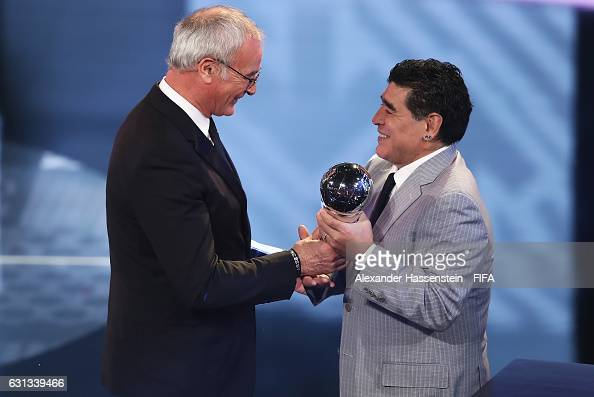 Claudio Ranieri of Italy and Leicester accepts The Best FIFA Men's Coach Award from Diego Maradona of Argentina during The Best FIFA Football Awards...