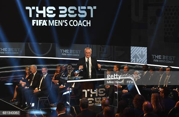 Claudio Ranieri of Italy and Leicester accepts The Best FIFA Men's Coach Award during The Best FIFA Football Awards at TPC Studio on January 9 2017...