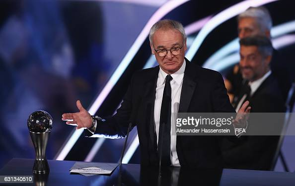 Claudio Ranieri of Italy and Leicester talks on stage after accepting The Best FIFA Men's Coach Award during The Best FIFA Football Awards at TPC...