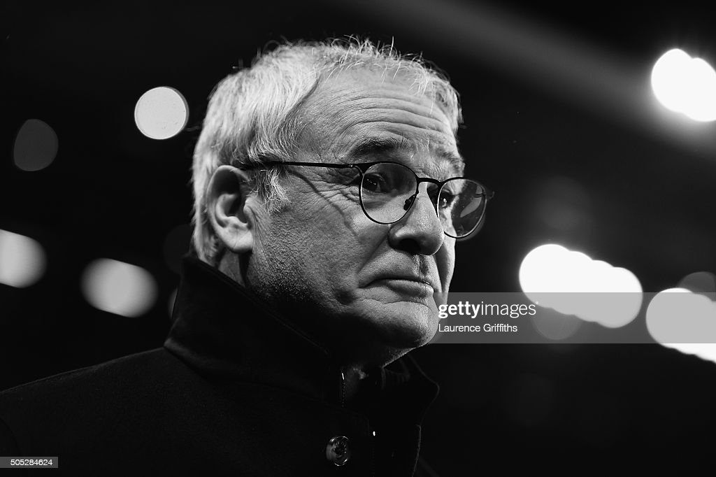 Claudio Ranieri of Leicester City looks on during the Barclays Premier League match between Aston Villa and Leicester City at The King Power Stadium on January 16, 2016 in Birmingham, England.