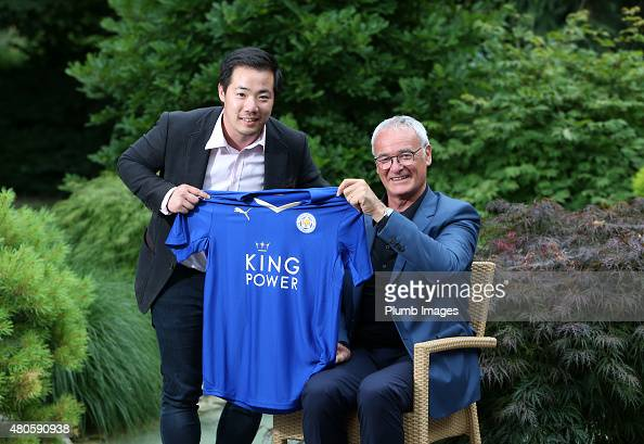 Claudio Ranieri poses with Leicester City's Vice Chairman Aiyawatt Srivaddhanaprabha as he is unveiled as the new Leicester City manager at their...