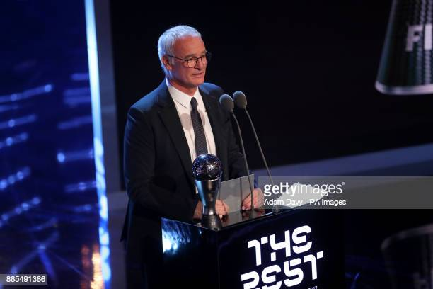 Claudio Ranieri presents the award for FIFA Mens Coach of the Year during the Best FIFA Football Awards 2017 at the Palladium Theatre London