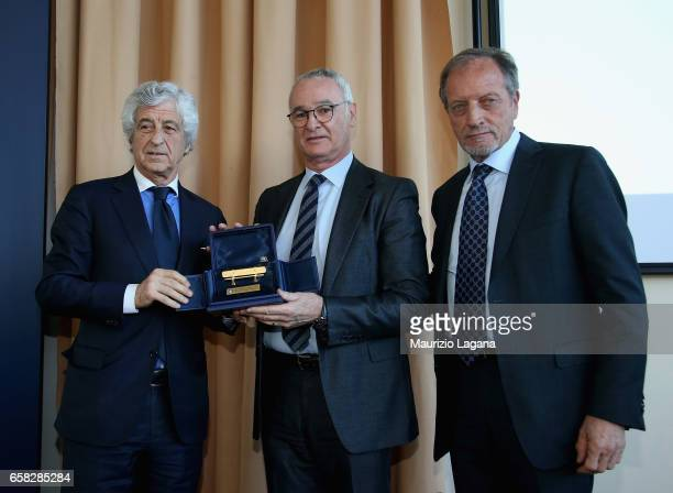 Claudio Ranieri receives the Panchina D'Oro Prize by Gianni Rivera and Renzo Ulivieri during Italian Football Federation 'Panchine D'Oro E D'Argento'...
