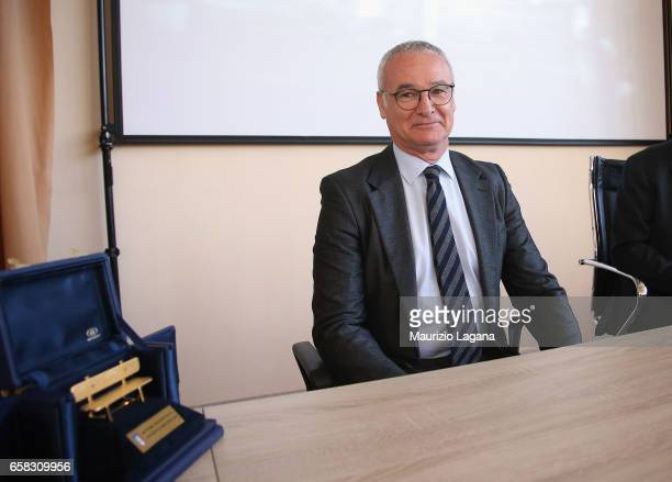 Claudio Ranieri receives the Panchina D'Oro Prize during Italian Football Federation 'Panchine D'Oro E D'Argento' Prize at Coverciano on March 27...