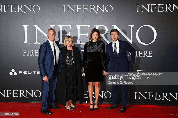 Claudio Ranieri Rosanna Ranieri Claudia Ranieri and Alessandro Roja walk the red carpet at 'Inferno' premiere on October 8 2016 in Florence Italy