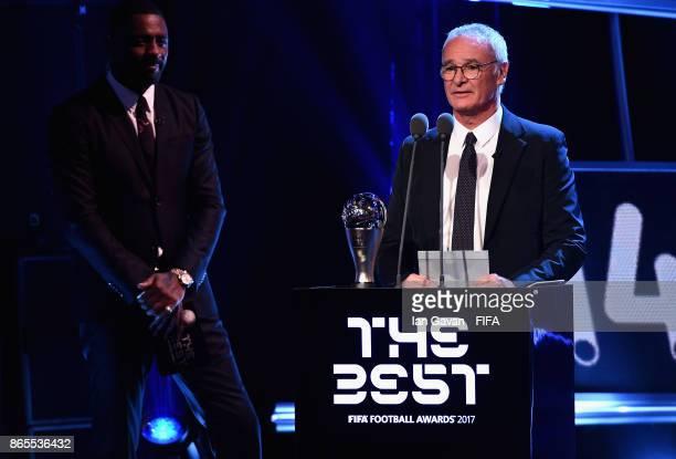 Claudio Ranieri speaks before awarding the FIFA Best Mens Coach award during The Best FIFA Football Awards at The London Palladium on October 23 2017...