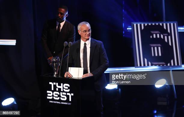 Claudio Ranieri speaks during The Best FIFA Football Awards Show on October 23 2017 in London England