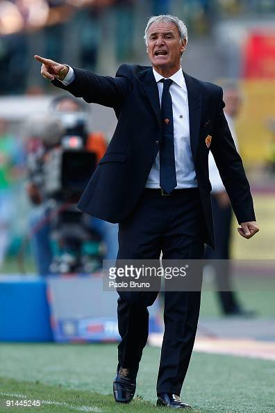 Claudio Ranieri the coach of AS Roma looks on during the Serie A match between AS Roma and SSC Napoli at Olimpico Stadium on October 4 2009 in Rome...