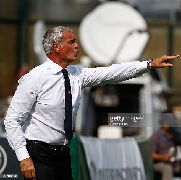 Claudio Ranieri the coach of ASRoma gestures during the Serie A match between AC Siena v AS Roma at Artemio Franchi Mps Arena on September 13 2009 in...