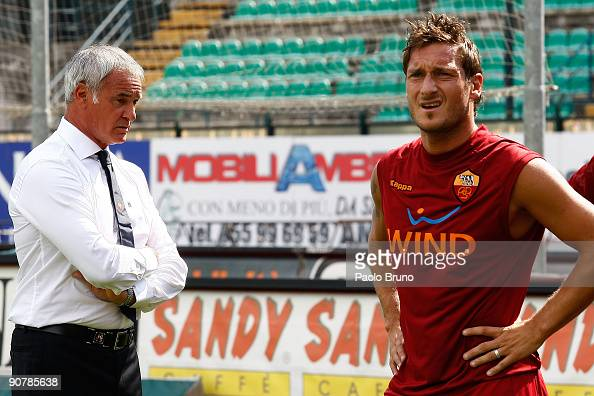 Claudio Ranieri the coach of ASRoma watches his players training before the Serie A match between AC Siena v AS Roma at Artemio Franchi Mps Arena on...