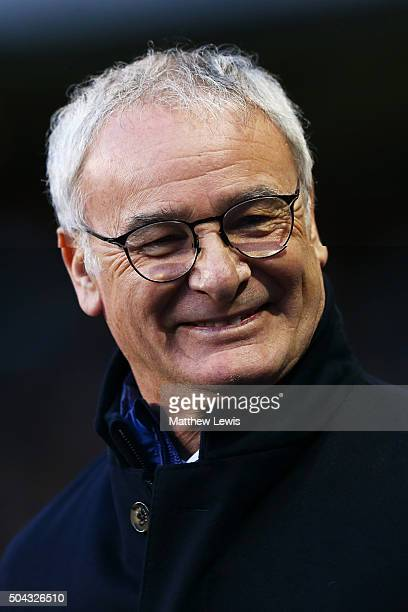 Claudio Ranieri the manager of Leicester City looks on during The Emirates FA Cup third round match between Tottenham Hotspur and Leicester City at...
