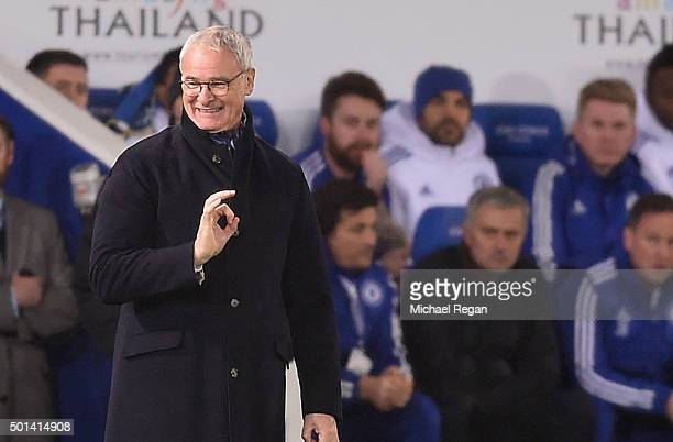 Claudio Ranieri the manager of Leicester City reacts as Chelsea manager Jose Mourinho looks on during the Barclays Premier League match between...