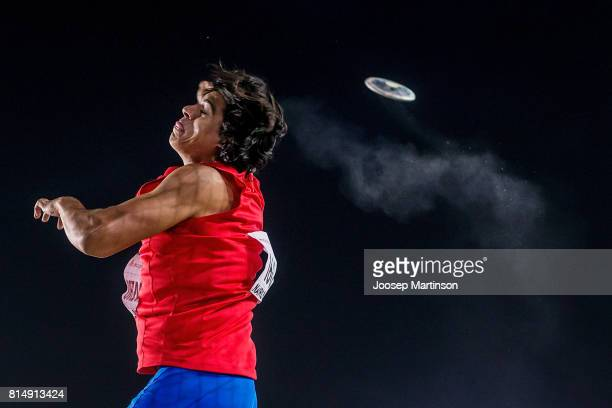 Claudio Romero of Chile competes in the boys discus throw final during day 4 of the IAAF U18 World Championships at Moi International Sports Centre...