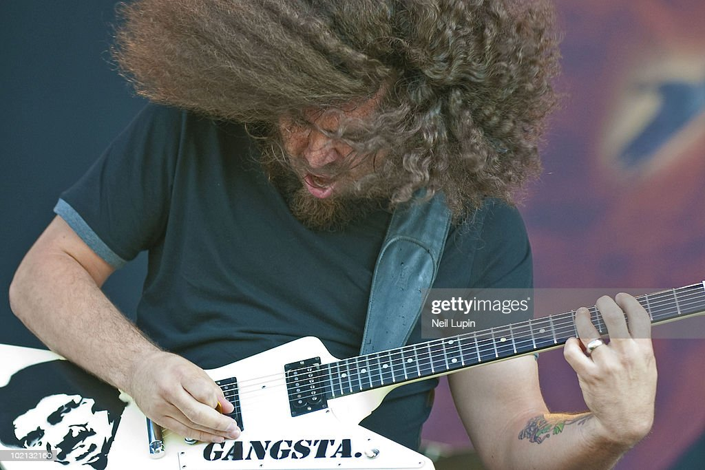 Claudio Sanchez of Coheed and Cambria performs on stage on the first day of the Download Festival at Donington Park on June 11, 2010 in Derby, England.