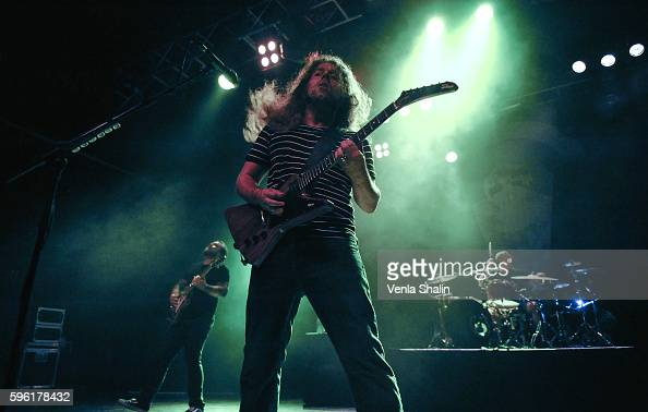 Claudio Sanchez Travis Stever and Josh Eppard of Coheed and Cambria performs at O2 Forum Kentish Town on August 24 2016 in London England