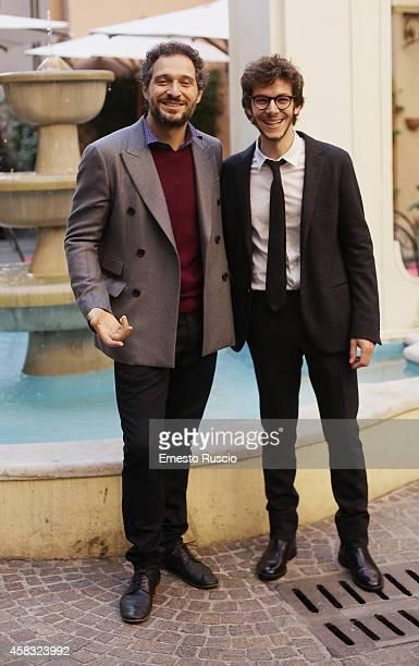 Claudio Santamaria and Alessandro Sperduti attend the 'Torneranno I Prati' photocall at Domus Talenti on November 3 2014 in Rome Italy