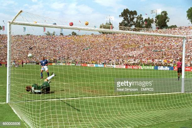 Claudio Taffarel Brazil after saving from Daniele Massaro Italy during penalty shoot out