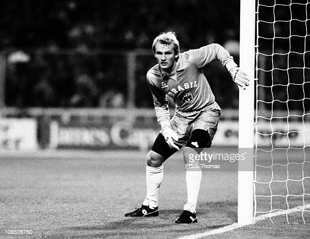 Claudio Taffarel Brazil goalkeeper in action against England during their friendly International held at Wembley Stadium London on 28th March 1990...