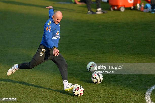 Claudio Taffarel goalkeeper Coach of Brazil in action during a team practice ahead of their international friendly game against France at Charlety...