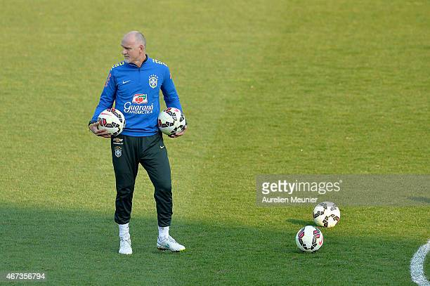 Claudio Taffarel goalkeeper Coach of Brazil reacts during a team practice ahead of their international friendly game against France at Charlety...