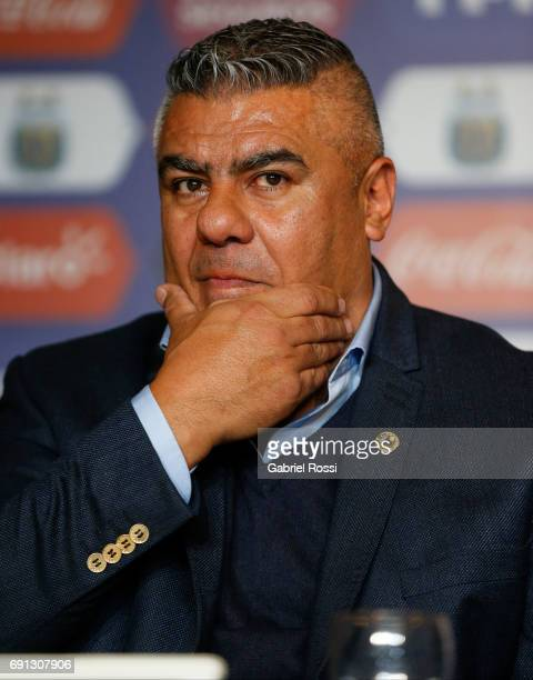 Claudio Tapia President of AFA gestures during the presentation of Jorge Sampaoli as new Argentina coach at Argentine Football Association 'Julio...