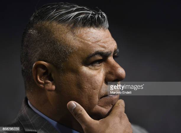 Claudio Tapia President of AFA looks on before a match between Argentina and Peru as part of FIFA 2018 World Cup Qualifiers at Estadio Alberto J...