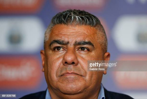 Claudio Tapia President of AFA looks on during the presentation of Jorge Sampaoli as new Argentina coach at Argentine Football Association 'Julio...